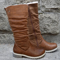 Women's PU Chunky Heel Boots With Zipper Solid Color shoes