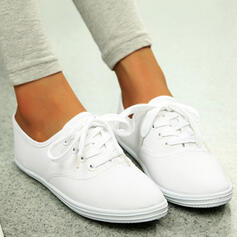 Women's Canvas Flat Heel Flats Espadrille With Lace-up Solid Color shoes