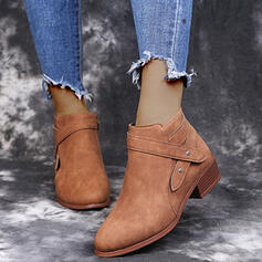 Women's Suede Chunky Heel Ankle Boots Round Toe With Zipper shoes