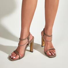 Women's PU Stiletto Heel Sandals Pumps Peep Toe Square Toe Heels With Chain Hollow-out shoes