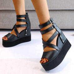 Women's PU Wedge Heel Sandals Wedges Peep Toe With Buckle Solid Color Crisscross shoes