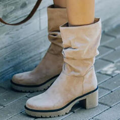 Women's Suede Chunky Heel Boots Heels Slip On Winter Boots With Solid Color shoes