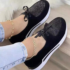 Women's PU Others Flats With Rhinestone Lace-up Print shoes