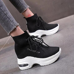 Women's Cloth Flat Heel Boots Ankle Boots With Lace-up Splice Color shoes