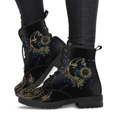 Women's PU Flat Heel Ankle Boots Martin Boots Round Toe With Lace-up Floral Print shoes