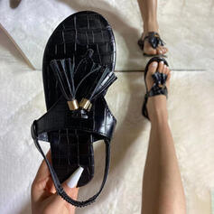 Women's PU Flat Heel Sandals Flats With Tassel shoes