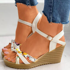 Women's PU Wedge Heel Sandals Wedges Peep Toe With Buckle Floral Print shoes