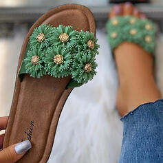 Women's PVC Flat Heel Sandals Flats Peep Toe Slippers With Flower Splice Color shoes