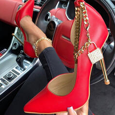 Women's PU Stiletto Heel Pumps Closed Toe Pointed Toe With Chain Hollow-out shoes