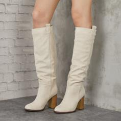 Women's Suede Chunky Heel Boots Mid-Calf Boots Round Toe With Solid Color shoes