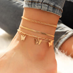 Link & Chain Layered Alloy With Butterfly Anklets (Set of 3)