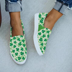 Women's Cloth Flat Heel Espadrille Slip On With Flower shoes