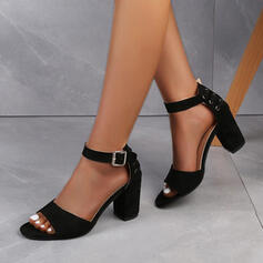Women's Suede Chunky Heel Sandals Pumps Peep Toe Heels With Buckle Hollow-out shoes