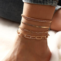 Fashionable Link & Chain Layered Alloy Women's Ladies' Anklets 4 PCS