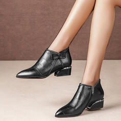 Women's Leatherette Chunky Heel Boots Ankle Boots Pointed Toe With Zipper Solid Color shoes