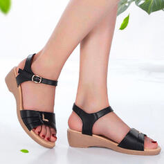 Women's Leatherette Spandex Low Heel Sandals Peep Toe With Buckle shoes