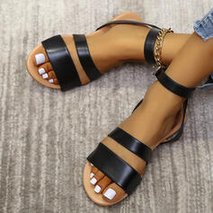 Women's PU Flat Heel Sandals Flats Peep Toe With Buckle Solid Color shoes