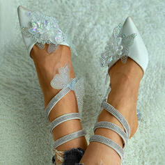 Women's Cloth Kitten Heel Pumps Closed Toe Heels Pointed Toe With Rhinestone Applique shoes