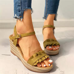 Women's PU Wedge Heel Sandals Platform Wedges Peep Toe With Buckle Ruched Solid Color shoes