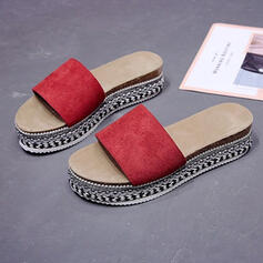 Women's Suede Flat Heel Sandals Peep Toe Slippers Round Toe With Striped shoes