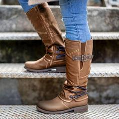 Women's PU Chunky Heel Mid-Calf Boots Riding Boots Round Toe With Buckle Zipper Solid Color shoes