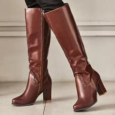Women's PU Chunky Heel Boots Knee High Boots Heels With Zipper Solid Color shoes