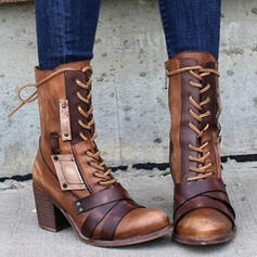 Women's PU Chunky Heel Mid-Calf Boots Round Toe With Lace-up Splice Color shoes