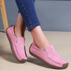 Women's Real Leather Flat Heel Slip On Loafers & Slip-Ons With Solid Color shoes