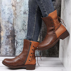 Women's PU Chunky Heel Boots Mid-Calf Boots Martin Boots Round Toe With Zipper Lace-up Splice Color shoes