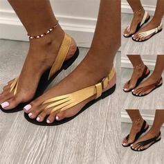 Women's PU Flat Heel Sandals Flats Peep Toe Round Toe With Buckle Solid Color shoes