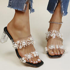 Women's PU Chunky Heel Sandals Flats Peep Toe Slippers Square Toe With Imitation Pearl Crystal Heel shoes