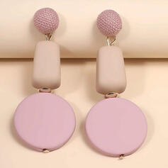 Round Acrylic With Acrylic Women's Earrings 2 PCS