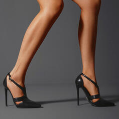 Women's PU Stiletto Heel Pumps Closed Toe Pointed Toe With Buckle Hollow-out Solid Color shoes