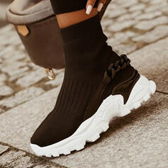 Women's Flying Weave Flat Heel Flats Platform Boots Ankle Boots Slip On Sock Boots With Chain Elastic Band Solid Color shoes