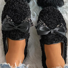 Women's Velvet Flat Heel Slip On With Bowknot Solid Color shoes