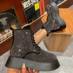 Women's Sparkling Glitter Chunky Heel Platform Boots Ankle Boots Low Top With Rhinestone Lace-up shoes