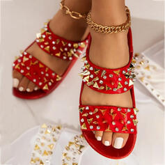 Women's PU Flat Heel Sandals Peep Toe Slippers With Rivet shoes