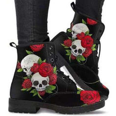 Women's PU Chunky Heel Boots Ankle Boots Martin Boots Low Top With Lace-up Floral Print shoes