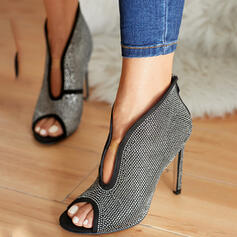 Women's PU Stiletto Heel Sandals Pumps Peep Toe Pointed Toe With Rhinestone Hollow-out shoes