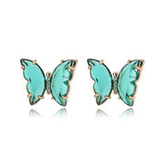 Fashionable Sexy Butterfly Shaped Simple Zircon Copper With Zircon Women's Ladies' Earrings 2 PCS