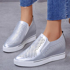 Women's PU Others Flats Round Toe Slip On With Hollow-out Solid Color shoes