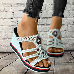Women's PU Wedge Heel Sandals Platform Wedges Peep Toe Slippers Heels With Hollow-out Braided Strap Splice Color shoes
