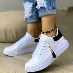 Women's PU Flat Heel Flats Sneakers With Lace-up Tassel shoes