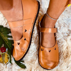 Women's PU Flat Heel Mary Jane Round Toe Loafers With Hollow-out Solid Color shoes