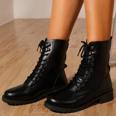 Women's PU Low Heel Boots Martin Boots Round Toe With Lace-up Solid Color shoes