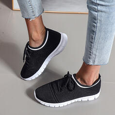 Women's Flying Weave Flat Heel Sneakers With Lace-up Solid Color shoes