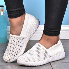 Women's Mesh Flat Heel Round Toe Slip On With Hollow-out Solid Color shoes