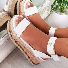 Women's PU Wedge Heel Sandals Platform Wedges Peep Toe With Buckle Hollow-out shoes
