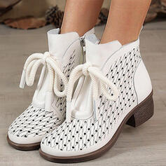 Women's Microfiber Chunky Heel Boots Ankle Boots Low Top Round Toe With Zipper Lace-up shoes