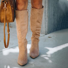 Women's Suede Chunky Heel Knee High Boots Winter Boots With Zipper Solid Color shoes